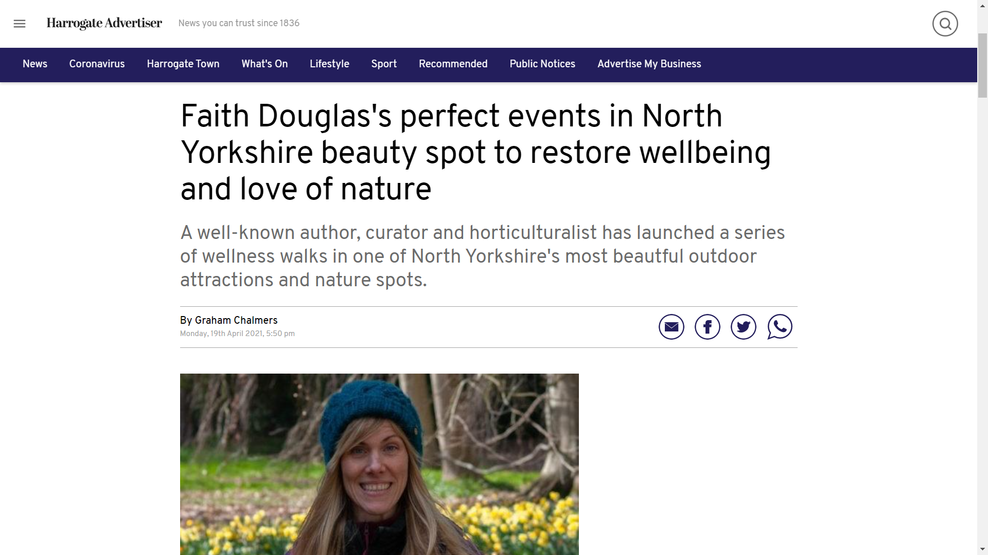 Faith Douglas's perfect events in North Yorkshire beauty spot to restore wellbeing and love of nature A well-known author, curator and horticulturalist has launched a series of wellness walks in one of North Yorkshire's most beautful outdoor attractions and nature spots. By Graham Chalmers Monday, 19th April 2021, 5:50 pm